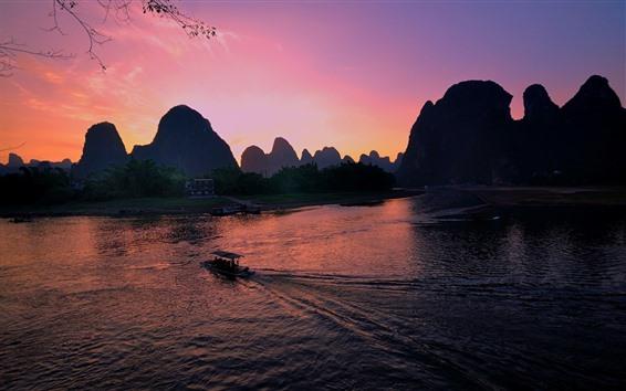 Wallpaper Guangxi Guilin Yangshuo, river, hills, boat, sunset, China
