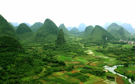 Wallpaper Guangxi Guilin Yangshuo scenery, village, mountains, China