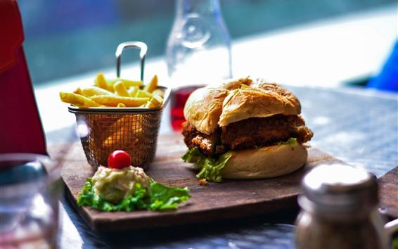 Wallpaper Hamburger, french fries, food