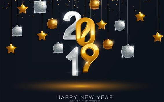 Обои С Новым Годом 2019 года, золотой и серебряный, звезды, мячи