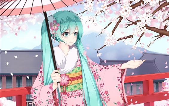 배경 화면 하츠네 미쿠, 파란 머리 애니메이션 소녀, 기모노, 사쿠라