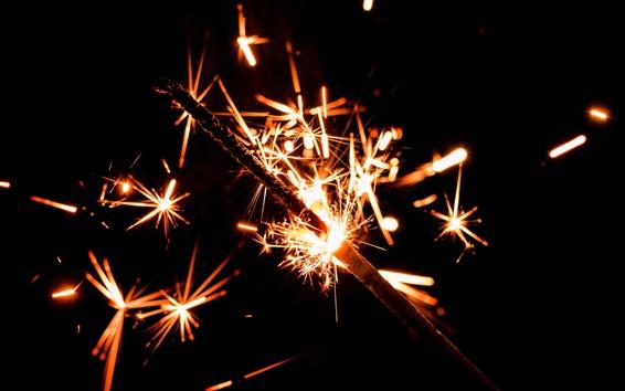 Wallpaper Holiday, sparks, fireworks, night