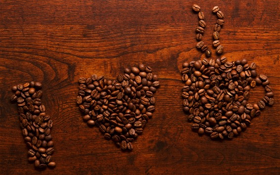 Wallpaper I love coffee, many coffee beans