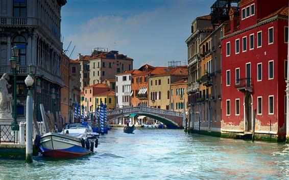 Wallpaper Italy, Venice, gondolas, river, bridge, houses