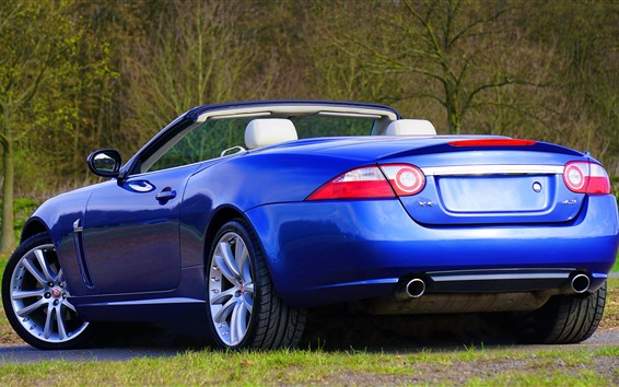 Wallpaper Jaguar blue convertible rear view