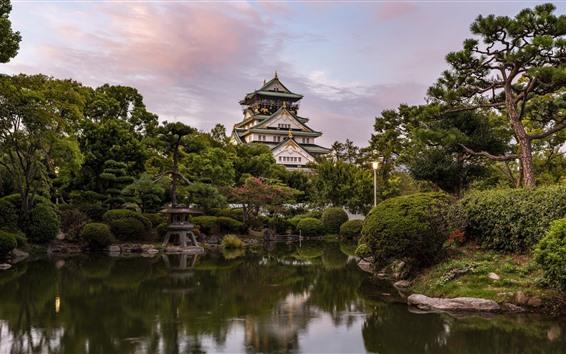 Wallpaper Japan, Osaka, castle, trees, pond, park