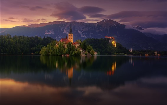 Wallpaper Lake Bled, church, Slovenia, trees, mountains, dusk