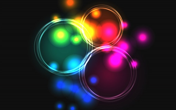 Wallpaper Light circles, colorful, bright, abstract