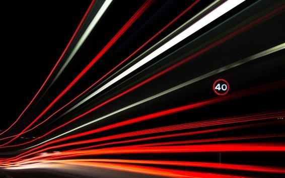 Wallpaper Light lines, speed, road, night
