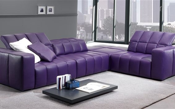 Wallpaper Living room, purple sofa, window