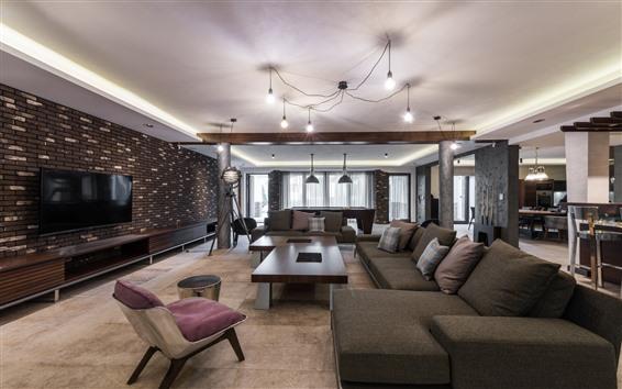 Wallpaper Living room, sofa, TV, windows, lights