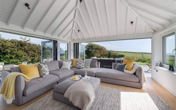 Wallpaper Living room, sofa, bright, villa