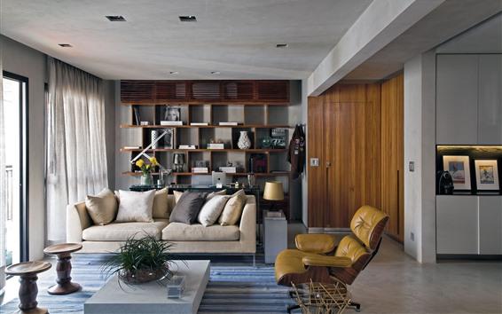 Wallpaper Living room, sofa, chairs, table