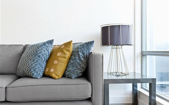 Wallpaper Living room, sofa, lamp