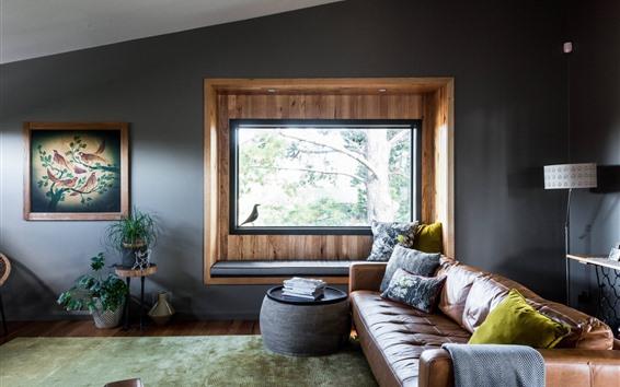 Fondos de pantalla Sala de estar, sofá, ventana, lámpara.