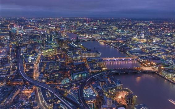 Обои Лондон, Англия, городской пейзаж, здания, река, дороги, огни
