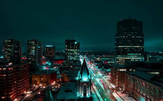 壁紙 ロンドン、都市の夜、建物、道路、ライト、イングランド