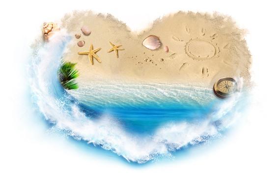 Wallpaper Love heart, beach, sea, starfish, white background