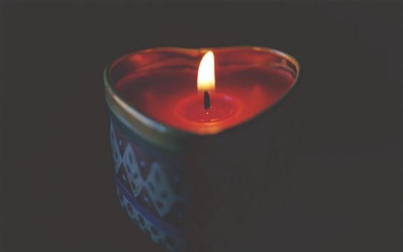 Fond d'écran Amour coeur bougie, flammes, ténèbres