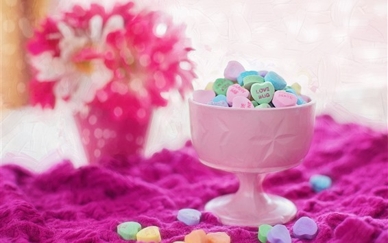 Wallpaper Love heart candy, colorful, cup, powder