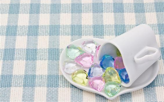 Papéis de Parede Amo o cristal do coração, colorido, caneca e prato