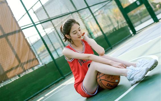 Wallpaper Lovely Chinese girl, sport, basketball