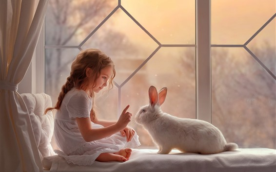 Wallpaper Lovely little girl and rabbit