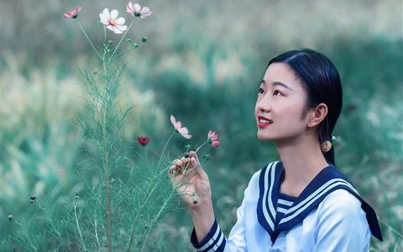 Wallpaper Lovely schoolgirl and flowers