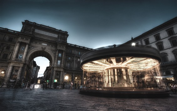 Papéis de Parede Madrid, espanha, carrossel, rua, noturna, luzes