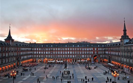 Papéis de Parede Madrid, espanha, cidade, centro exhibition, quadrado, anoitecer