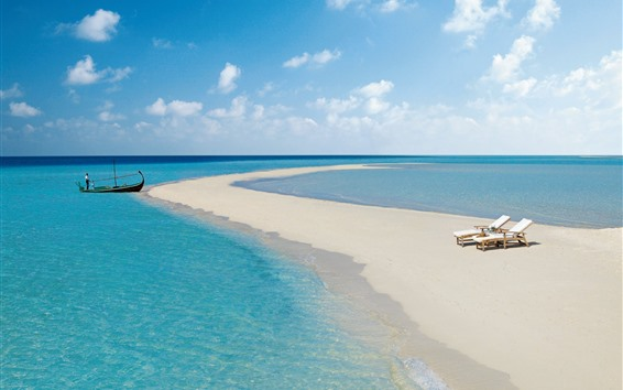 壁紙 モルディブ、ビーチ、海、椅子