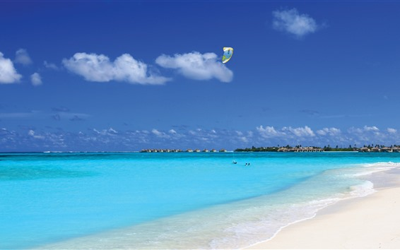 Papéis de Parede Maldivas, mar azul, praia, resort