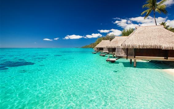 Fond d'écran Maldives, bungalows, mer bleue, complexe hôtelier, tropical