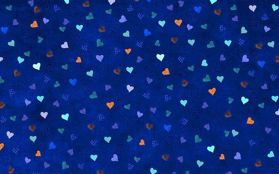 Wallpaper Many love hearts, blue background