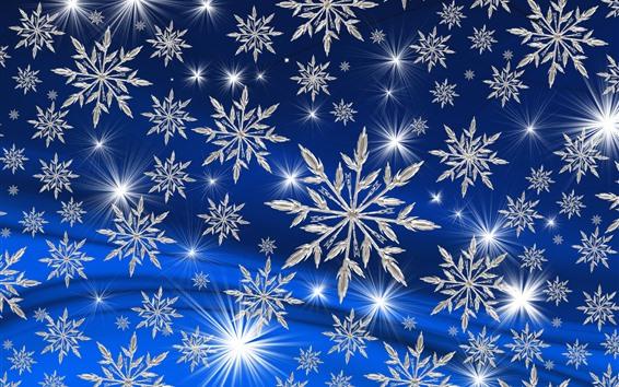 Papéis de Parede Muitos flocos de neve brancos, estrelas, fundo azul