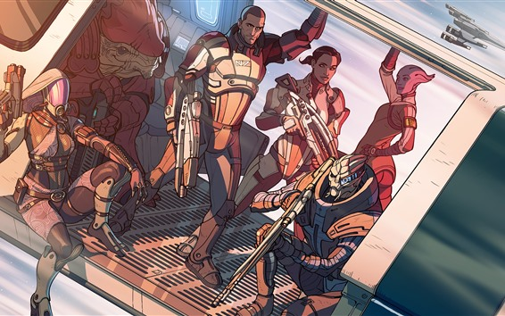Wallpaper Mass Effect, art drawing, soldiers