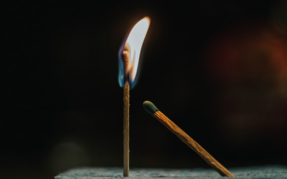 Wallpaper Matches, fire, flame, black background