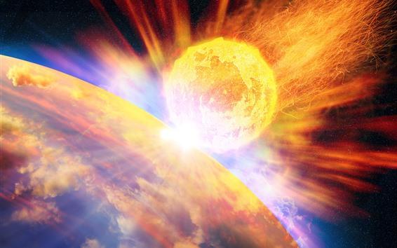 Fond d'écran Météore, feu, planète, espace