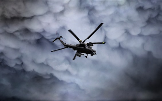 Wallpaper Mi-28N helicopter flight, clouds