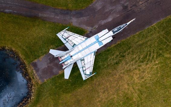 Wallpaper MiG-25 Fighter, top view, runway