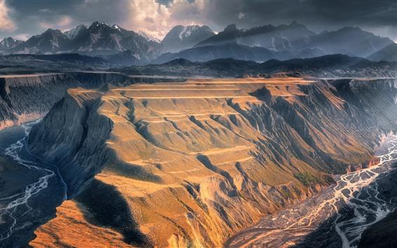 Обои Горы, облака, долина, скала, река, природный ландшафт