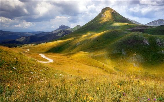 Wallpaper Mountains, grass, clouds, nature landscape