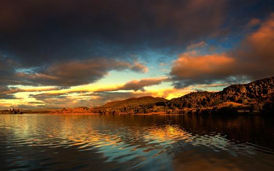 Обои Природа пейзаж, озеро, деревья, облака, сумерки