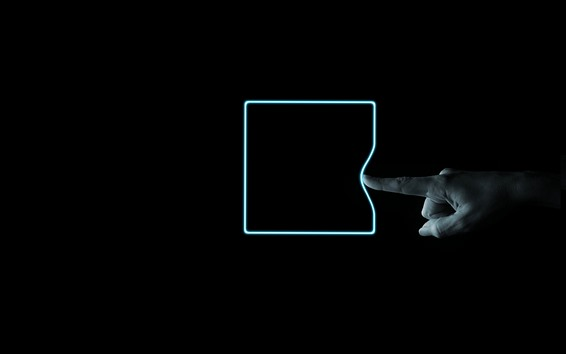 Wallpaper Neon square shaped, finger, black background