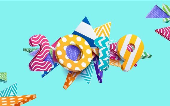 Обои Новый год 2019, креативный дизайн, 3D, красочный