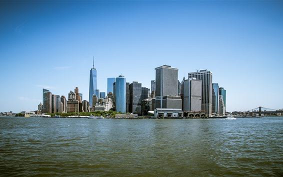 Обои Нью-Йорк, Манхэттен, США, город, небоскребы, море