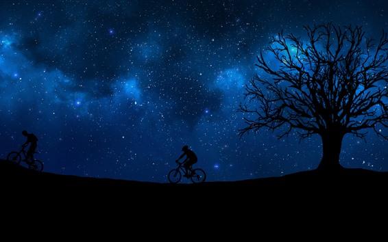 Wallpaper Night, bikes, sport, tree, starry, blue sky, silhouette