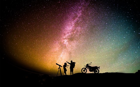 Fond d'écran Nuit, étoilé, étoiles, ciel, amants, moto, romantique