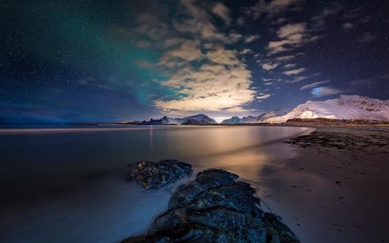 Обои Норвегия, Лофотенские острова, море, камни, звезды, небо