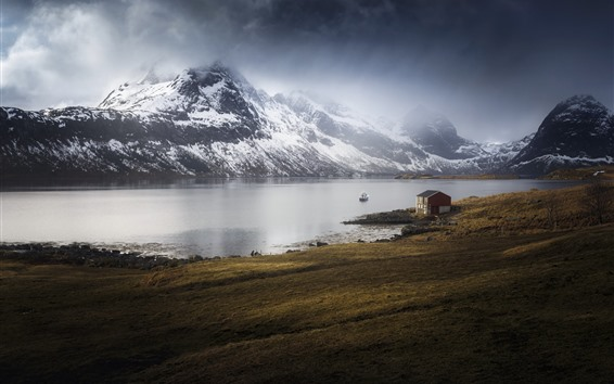 Wallpaper Norway, Marka, Nordland, sea, house, mountains, snow